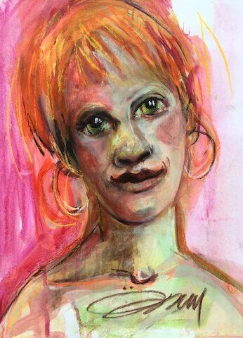 Visage de femme en rose