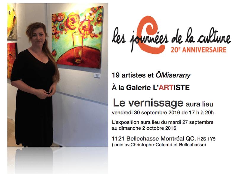 POUR les journées de la culture 19 artistes et ÖMiserany À la Galerie L'ARTISTE