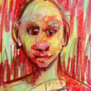Tite face rouge et jaune