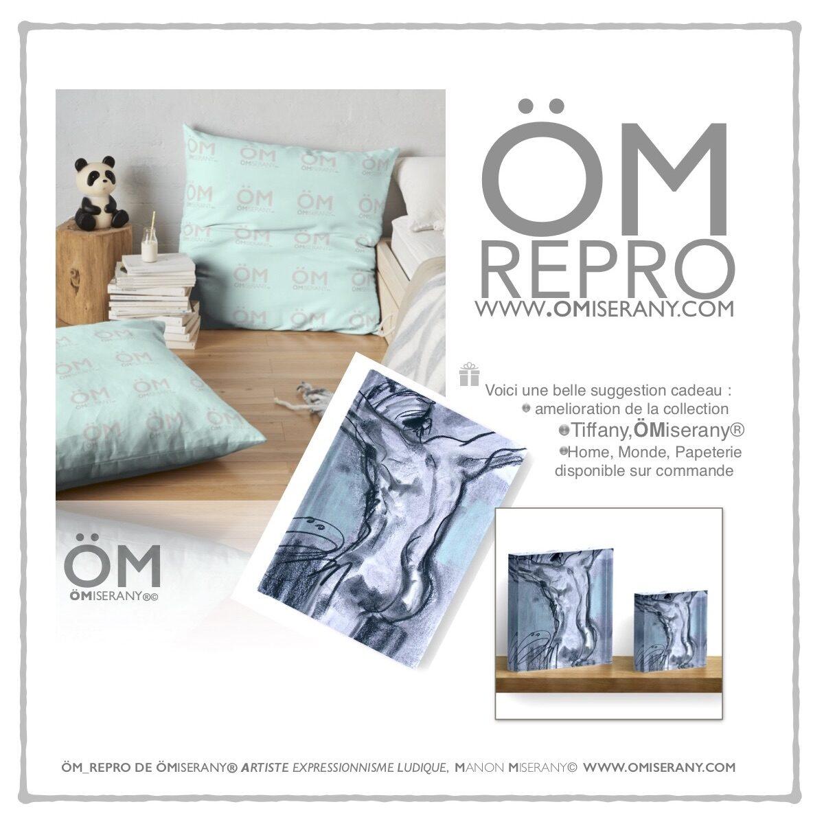 """Canet ,coussin et carré acrylique ÖM_REPRO-tiffany """"homme-de-dos de ÖMiserany"""