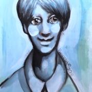 """Titeface bleu la douceur de Gabriel,12"""" x 9"""", mixte sur papier bristol, 2018,"""