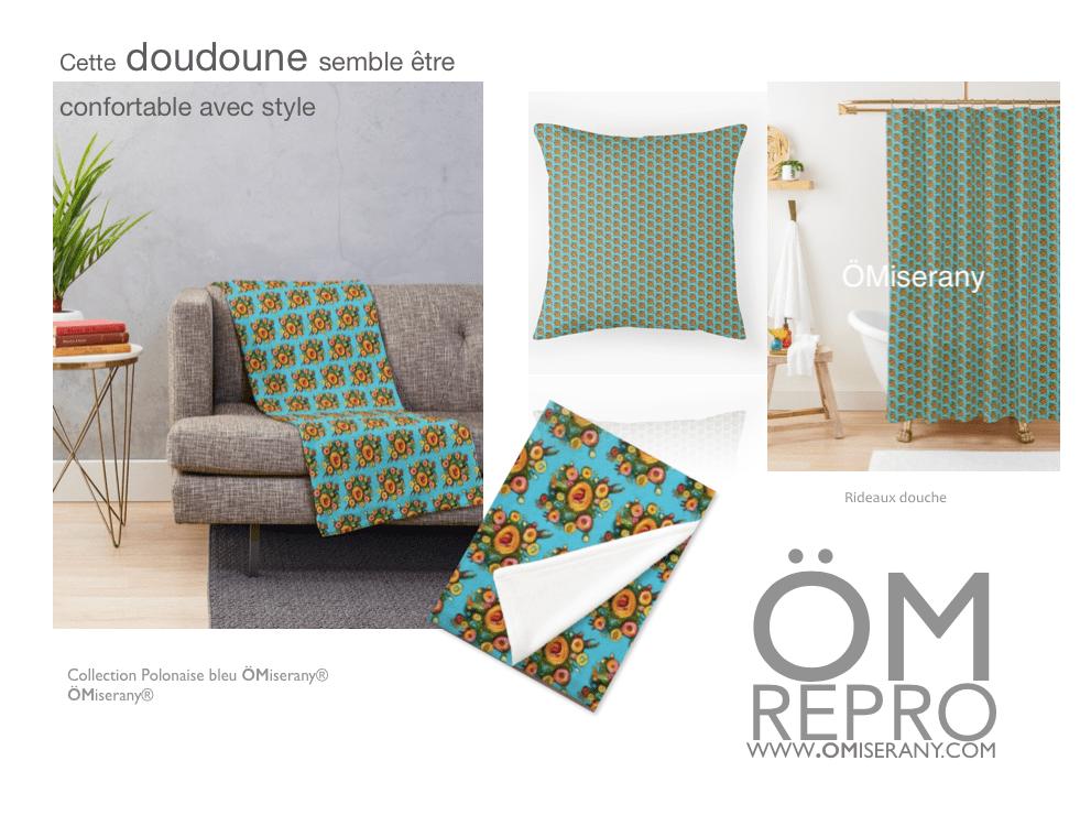 collection polonaise bleu conseil deco : doudoune, coussin et rideau de douche de ÖMISERANY