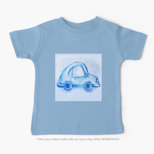 t-shirt-bébé #26-une voiture bleu 2020, ÖMISERANY®