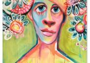 """peinture  Covid en fleurs ,2020 ÖMiserany acrylique sur toiles 48""""x30"""" x 2"""""""