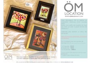 Idee-om_location-omiserany-inspiration-en-equilibreun-trio-corail-jaune-t-vert-lime-cadre-noir-doree-